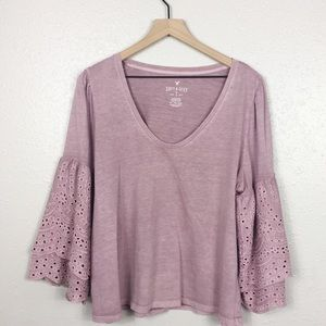 American Eagle Outfitters Tops - AEO soft & sexy crochet eyelet ruffle bell sleeves